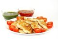 Delicious roasted fish in oven and garnish with cherry tomato Royalty Free Stock Photography