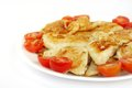 Delicious roasted fish and tomato in oven garnish with cherry Royalty Free Stock Photo