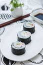 Delicious rolls with smoked salmon Royalty Free Stock Photo
