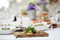 Delicious salad at a banquet with different types of vegetables Royalty Free Stock Images