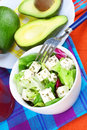Delicious salad with feta and avocado still life herbs dressing Royalty Free Stock Image