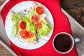 Delicious sandwich with tomatoes, cheese and lettuce. Royalty Free Stock Photo