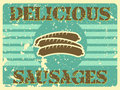 Delicious sausages vintage style poster with Royalty Free Stock Photography