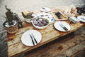 Delicious Sea Food Wooden Table Bench Shore Concept Royalty Free Stock Photo