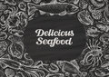 Delicious seafood. hand drawn food on chalkboard. template design menu restaurant, cafe