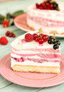Delicious slice of three fruit layers ice cream cake Royalty Free Stock Photo