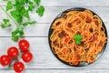 Delicious Spaghetti alla puttanesca with capers Royalty Free Stock Photo