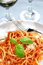 Delicious spaghetti in tomato Royalty Free Stock Photo