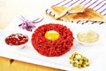 Delicious steak tartare. Royalty Free Stock Images