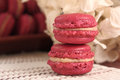 Delicious strawberry macarons homemade mood picture Royalty Free Stock Image