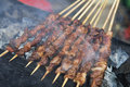 Delicious street food of barbecued lamb shish kebabs in guilin on the streets guangxi autonomous region china Stock Photo
