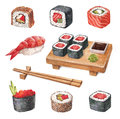 Delicious sushi watercollor illustrations on white Royalty Free Stock Photography