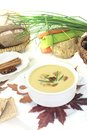Delicious sweet chestnut soup with bread on a light background Royalty Free Stock Images