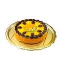 Delicious sweet round fruit cake with peaches, oranges, kiwi, grapes. On a round metal tray Royalty Free Stock Photo