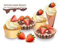 Delicious sweets and desserts with fruits. Chocolate tartlets and vanilla cupcakes. Summer confectionary bakery treats
