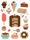 Delicious sweets icons colorful collection Stock Images