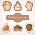 Delicious sweets: a set of cards with muffins Royalty Free Stock Photo
