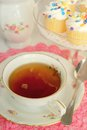 Delicious tea nice cup little cakes Royalty Free Stock Photography