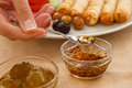 Delicious turkish breakfast rich and jam and honey in Stock Photos