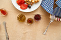 Delicious turkish breakfast rich and jam and honey in Royalty Free Stock Photo