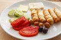 Delicious turkish breakfast rich and salad in Royalty Free Stock Photography