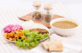 Delicious vegetarian lunch spices Royalty Free Stock Photos