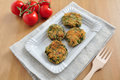 Delicious veggie burger patty with swiss chard Stock Images