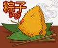 Delicious Zongzi Dumpling with Chopsticks, Vector Illustration
