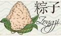 Delicious Zongzi Dumpling in Hand Drawn Style, Vector Illustration