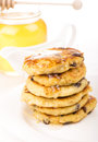 Delightful cheese pancakes on the white Stock Images