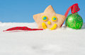 A delightful Christmas cookie on snow Stock Photography