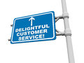 Delightful customer service words blue road sign against white background Stock Photos