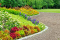 Delightful flower bed in the summer park Royalty Free Stock Images