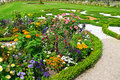 Delightful flowerbed flower bed in the summer park Royalty Free Stock Photos