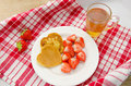 Delightful heart shaped pancakes served with Royalty Free Stock Images
