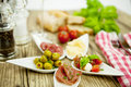 Deliscious antipasti plate with parma parmesan olives Royalty Free Stock Images