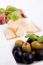 Deliscious antipasti plate with parma parmesan and olives Royalty Free Stock Photography