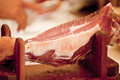 Deliscious fresh parma serrano ham slices pork gourmet jamon Royalty Free Stock Photography