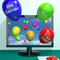 We Deliver Balloons From Computer Showing Delivery Shipping Serv Royalty Free Stock Photos