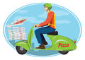 Deliver pizza on vintage scooter Royalty Free Stock Photo