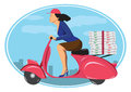 Deliver pizza on vintage scooter Stock Images