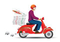 Deliver pizza on vintage scooter Royalty Free Stock Images