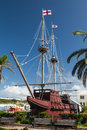 The deliverance replica of historical ship famous built in at ordnance island next to town of st georges bermuda Royalty Free Stock Images