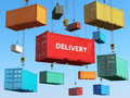 Delivery background concept. Cargo shipping containers in storage Royalty Free Stock Photo