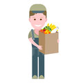 Delivery boy with a food bag illustration of on white background Royalty Free Stock Photo