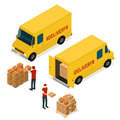 Delivery Car Logistic Service Isometric View. Vector