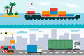 Delivery cargo truck and ship sea transportation vector illustration.