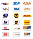 Delivery companies logos Royalty Free Stock Photo