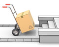 Delivery concept with hand truck and freestyle environment Stock Images