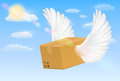 Delivery corrugated carton box with flying bird wing Royalty Free Stock Photo